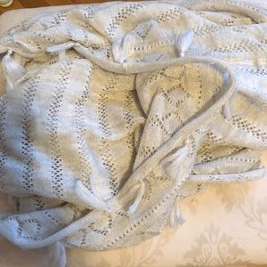 Cream infinity scarf with tassels